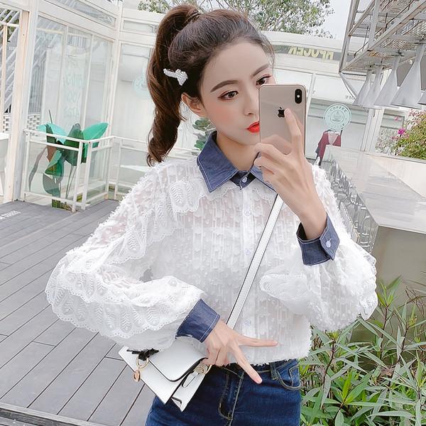 2dbf7c2e75d Стилна дамска дантелена риза в бял цвят - Badu.bg - Светът в ръцете ти