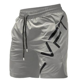 Модерни мъжки къси панталони с надпис и връзки в три цвята