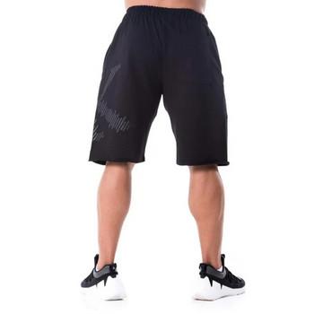 Мъжки модерен къс панталон с апликация в два цвтяа