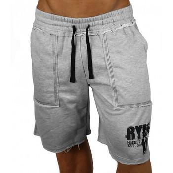 Модерни мъжки къси панталони с апликация и джобове