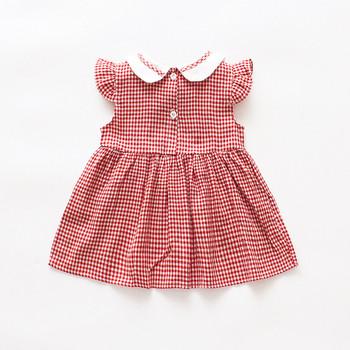 Карирана детска рокля за момичета