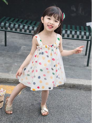 Модерна детска рокля разкроен модел с тюл