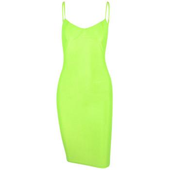 Модерна дамска рокля Slim -модел в неонов цвят