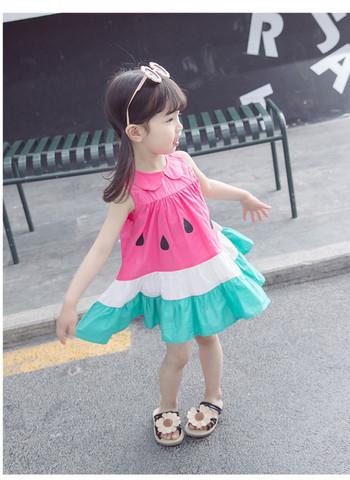 Актуална детска рокля широк модел с копчета и яка