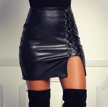 Модерна дамска кожена пола с връзки