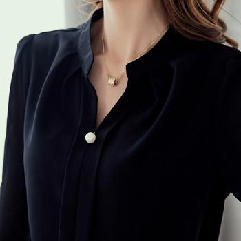 Κομψό γυναικείο πουκάμισο με μανίκι 3/4 σε κόκκινο, λευκό και μαύρο χρώμα