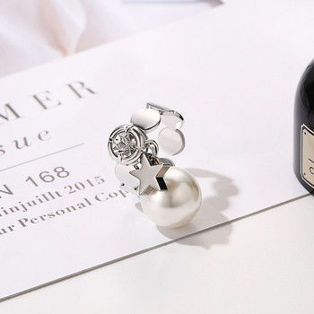 Дамски стилен пръстен с перла и камък в сребрист цвят