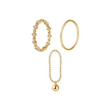 Модерен дамски пръстен от три части в златист цвят