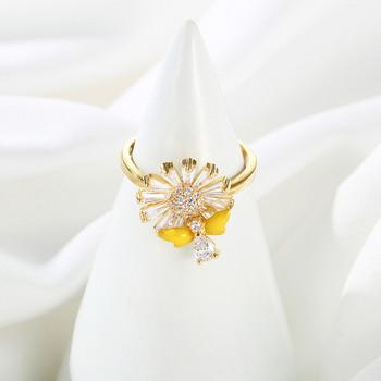 Модерен дамски пръстен във формата на цвете