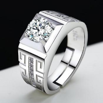 Стилен пръстен за мъже в сребрист цвят с камъни