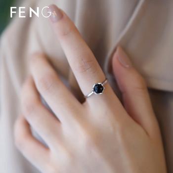 Стилен дамски пръстен с декоративен камък в черен цвят