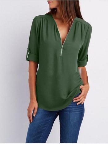 Стилна дамска риза с цип в няколко цвята