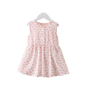 Модерна детска рокля разкроен   модел с цветна апликация в няколко цвята
