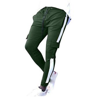 Модерен мъжки спортен панталон с връзки и цветен кант