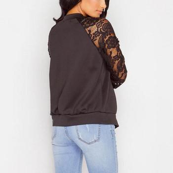 Пролетно дамско яке с дантелени ръкави в черен и бял цвят