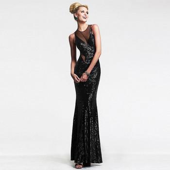 Елегантна дамска официална рокля с гол гръб в черен цвят