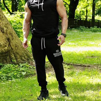 Спортен мъжки панталон в черен цвят с надпис