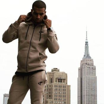 Спортно-ежедневен мъжки панталон в три цвята с връзки и джобове