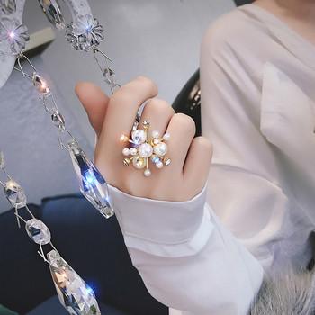 Модерен дамски пръстен с камъни и перли