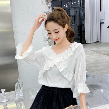 98ff9503eccd Μοντέρνα γυναικεία μπλούζα με ντεκολτέ σε σχήμα V σε τρία χρώματα ...