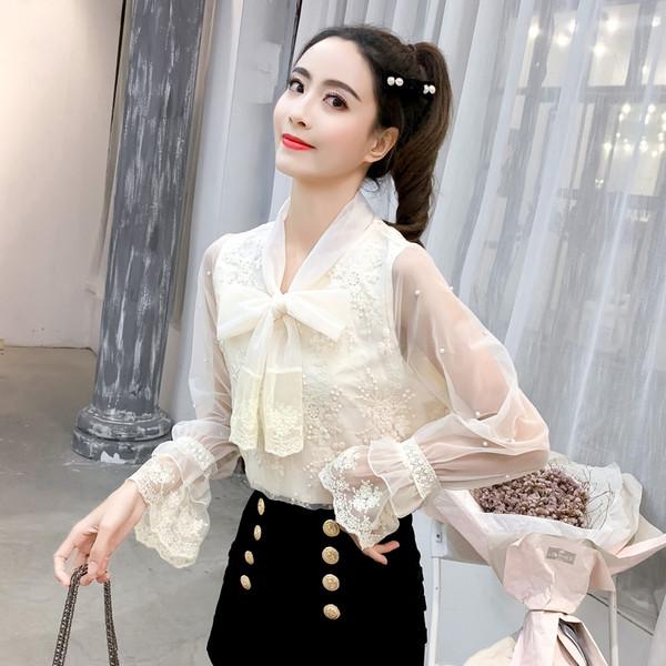 e27ddda99cc Стилна дамска риза в два цвята с декоративни перли - Badu.bg - Светът в ръцете  ти