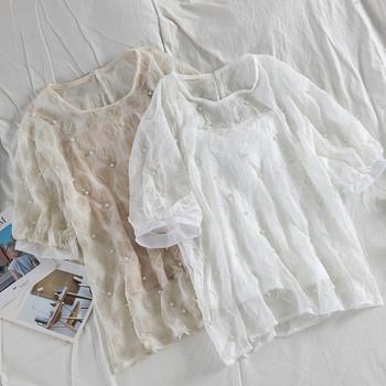 de36e741d9b Стилна дамска блуза с къс ръкав и перли в няколко цвята - Badu.bg ...