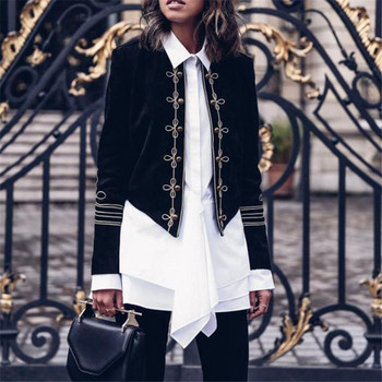 Κομψό μοντέρνο μοντέλο ασσύμετρου γυναικείο μπουφάν με κεντήματα σε μαύρο χρώμα