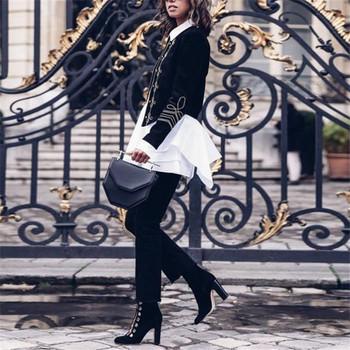 Стилно дамско  пролетно яке асиметричен модел с бродерия в черен цвят