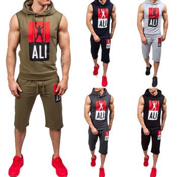 Модерен мъжки спортен екип от две части-потник и къси панталони