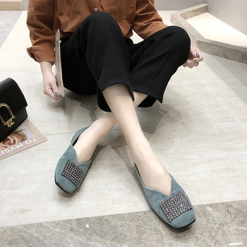 Γυναικεία μοντέρνα υποδήματα eco σουέτ με διακοσμητικές πέτρες σε τρία χρώματα