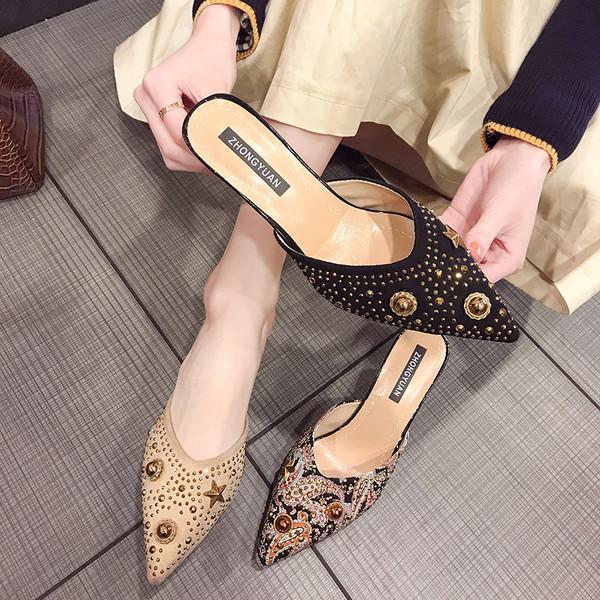 97156e9c5a2 Актуални дамски чехли с нисък ток с декоративни камъни - Badu.bg - Светът в  ръцете ти