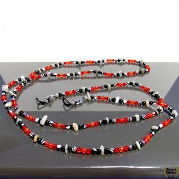 Връзки за очила от естествени камъни Карнеол, Ахат, Оникс и Чешки кристал - DM-1062