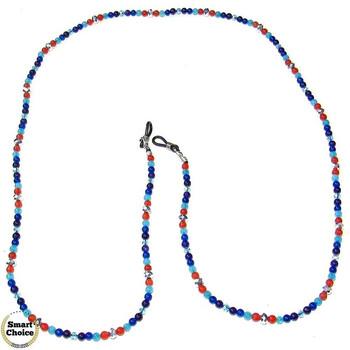 Връзка за очила от естествени камъни Ахат, Карнеол и Аквамарин - DM-1053