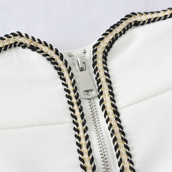 Стилни дамски къси панталони с цип в бял и черен цвят