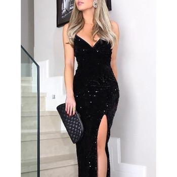 Κομψό μακρύ φόρεμα για γυναίκες με πούλιες σε μαύρο χρώμα