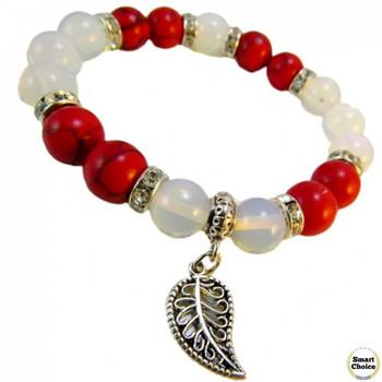 Дамска гривна от естествени камъни Червен корал и Лунен камък - DM-2435