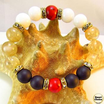 Дамска гривна от естествени камъни Червен корал, Оникс и Косите на Венера - DM-2434