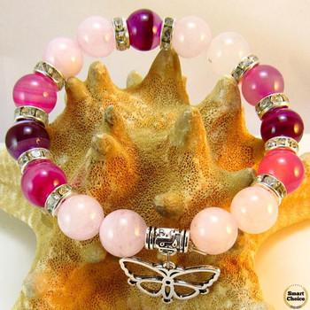 Дамска гривна от естествени камъни Ахат и Розов кварц - DM-2433