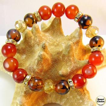 Дамска гривна от естествени камъни Карнеол, Драконови вени и Чешки кристал - DM-2431