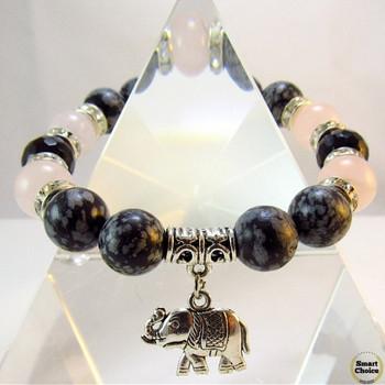 Дамска гривна от естествени камъни Обсидиан, Оникс и Розов Кварц - DM-2426