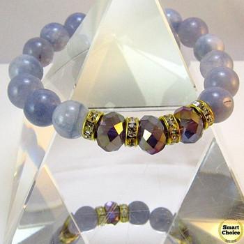 Дамска гривна от естествени камъни Аквамарин и Чешки кварц - DM-2420
