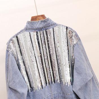 Γυναικείο μοντέρνο τζιν μπουφάν με πούλιες ασύμμετρη μοτίβο