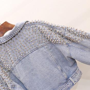 Γυναικείο τζιν μπουφάν με μεταλλικό στοιχείο