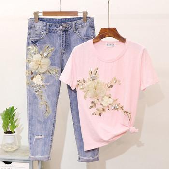 Стилен дамски комплект от дънки и тениска с 3D-елемент цветя