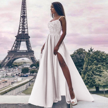 Стилна дамска рокля с цепка и дълбоко деколте в няколко цвята