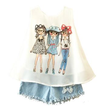 Нов модел детски комплект за момичета от две части потник и дънки
