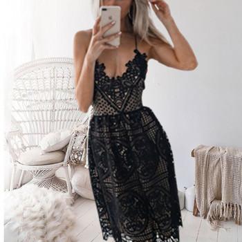 66a5ddba3616 Κομψό γυναικείο φόρεμα με λεπτούς ιμάντες σε λευκό και μαύρο χρώμα ...