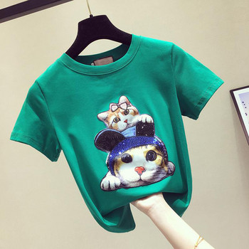 Κομψό γυναικείο μπλουζάκι με πούλιες-τρία χρώματα