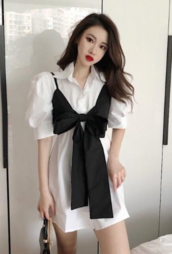 Μοντέρνο γυναικείο πουκάμισο σε λευκό και μπλε με μανίκι 3/4