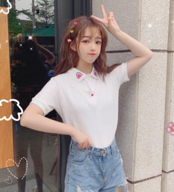 Σύγχρονη γυναικεία μπλούζα με κουμπιά και τύπωμα